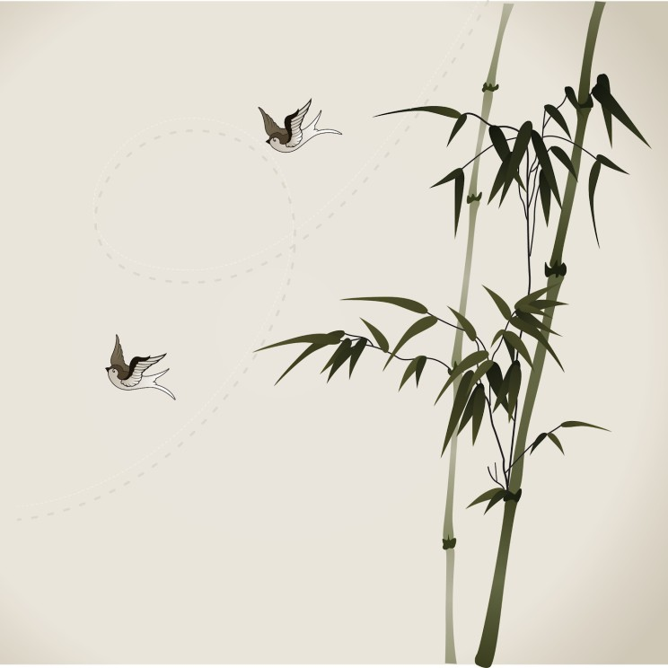 bamboo branches, vectorized oriental style brush painting